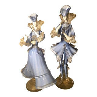 Pair of Antique Fancy Blue Venetian Glass Figures For Sale
