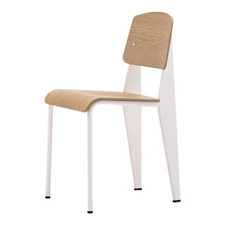 Jean Prouvé Standard Chair in Natural Oak and Ecru White Metal for Vitra