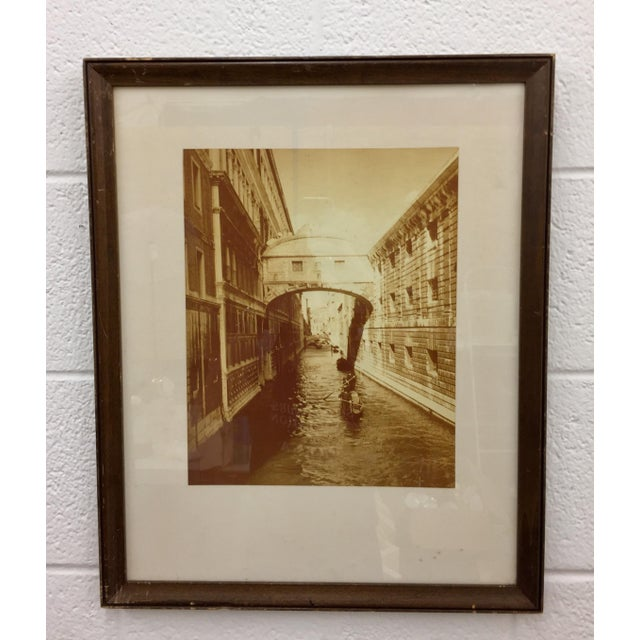 Vintage Sepia Black & White Photograph of the Bridge of Sighs in Venice, Italy in Wooden Frame. Note: frame shows slight...