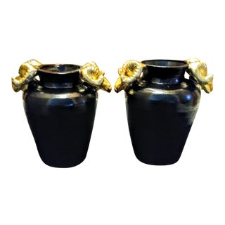 A Pair Large Black and Gold Ram Head Handle Clay Decorative Pots For Sale