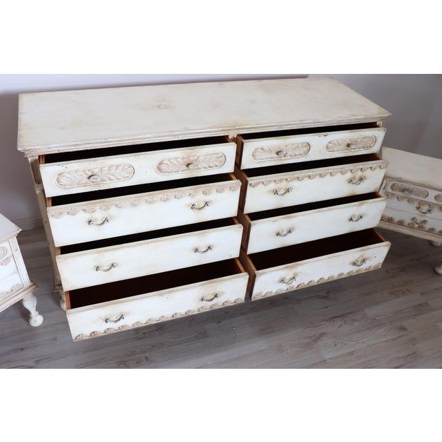 20th Century Italian Country Lacquered Commode and Two Nightstand For Sale - Image 9 of 13