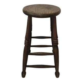 1930's English Tall Turned-Leg Stool For Sale