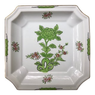 Green and Pink Floral Porcelain Catchall For Sale
