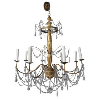 Italian Geneviere Style Giltwood and Crystal Chandelier For Sale