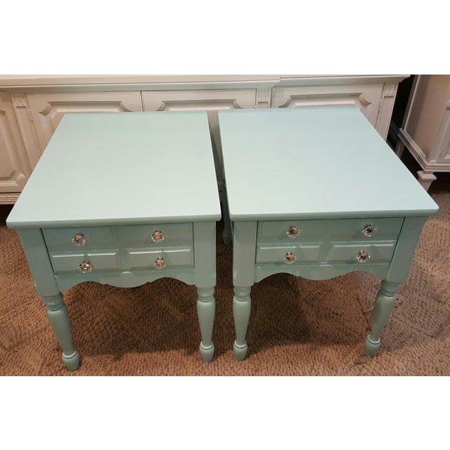 Blue 1950s Boho Chic Mersman Solid Wood Bedside Tables - a Pair For Sale - Image 8 of 12