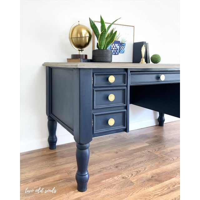 Nautical Navy Blue Executive Desk With Driftwood Top For Sale In Raleigh - Image 6 of 9