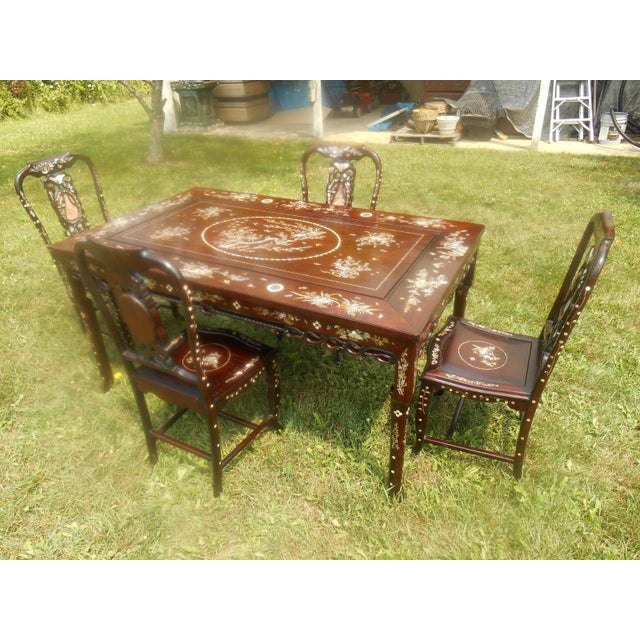 Mother of Pearl Inlay Asian Dining Set - Image 4 of 11
