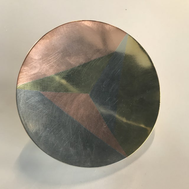 Mid-Century Modern Casados Hand Wrought Mixed Metal Round Dish For Sale - Image 3 of 5