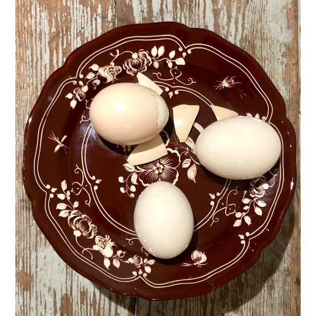 """A Vintage Italian Este Trompe l""""Oeil container with eggs on top. Small chip to lid."""