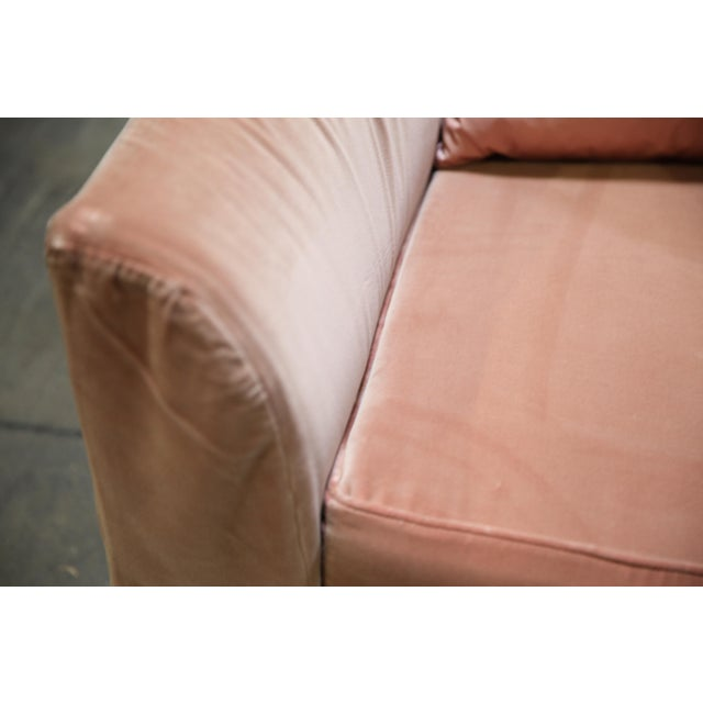 Christian Liaigre Modern Sofa in Pink Velvet with 4 Pillows For Sale - Image 11 of 13