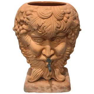 Italian Terracotta Bacchus Motif Planter, With Spigot For Sale