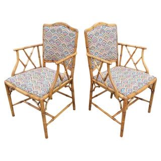 Pair of Bamboo Armchairs For Sale