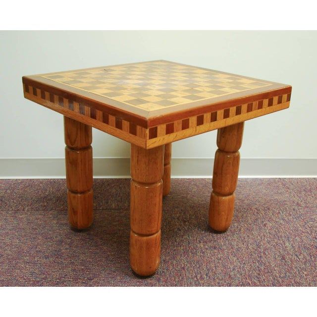 Postmodern Oak and Walnut Inlay End Table, Circa 1980 For Sale In Richmond - Image 6 of 11