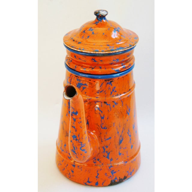 1940s French Marbleized Enameled Coffeepot - Image 3 of 7