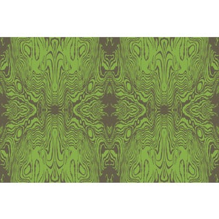 Faux Bois Burnt Olive/Greenery Linen Cotton Fabric, 6 Yards For Sale