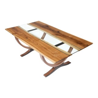 StudioRossi Contemporary Slab & Glass Dining Table