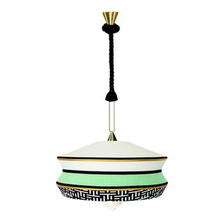 Contardi Calypso Antigua XL Pendant Light in Moss Green and Mint For Sale