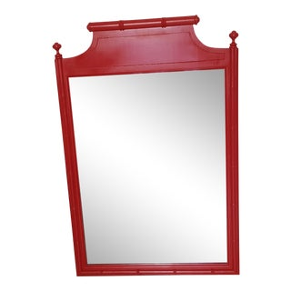 Vintage Henry Link Faux Bamboo Mirror Hollywood Regency Bali Hai Mid-Century Modern Red Gloss For Sale