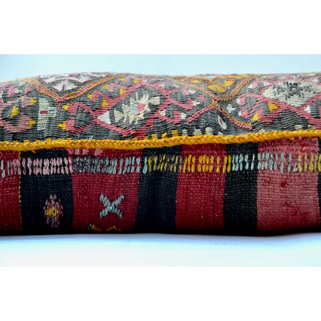"Boho Chic Vintage Turkish Kilim Pillow 34"" X 20"" For Sale - Image 3 of 6"