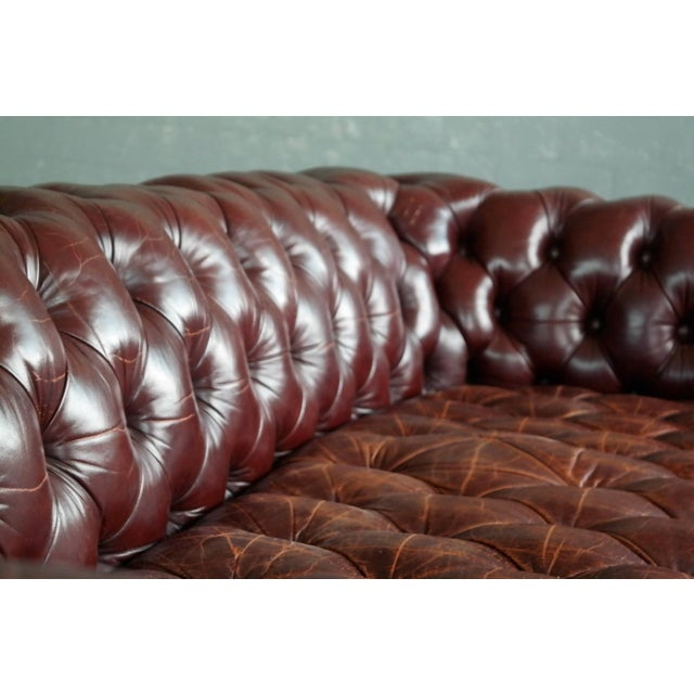 Classic English Midcentury Cordovan Leather Chesterfield Sofa For Sale - Image 4 of 7