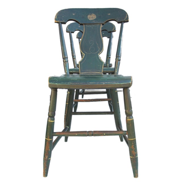Antique Painted Pennsylvania Plank Chairs - S/6 - Image 10 of 11