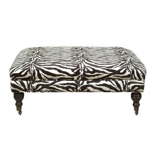 Oversized Zebra Print Cocktail Ottoman For Sale
