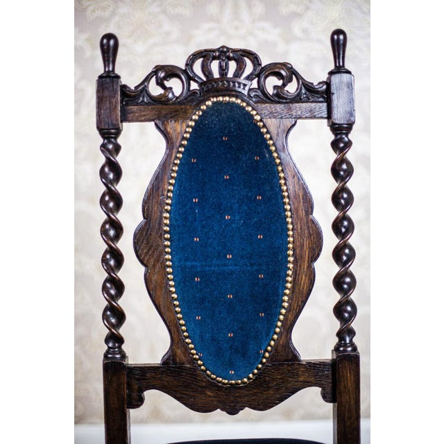 Blue 19th-Century Carved Table With Chairs For Sale - Image 8 of 11