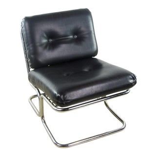 Italian Mid Century Modern Chrome and Black Vinyl Club Lounge Chair
