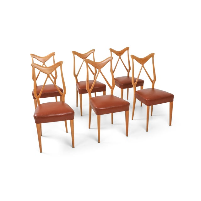 Italian Oak & Leather Dining Chairs in the Style of Ponti - 1970s For Sale - Image 3 of 3