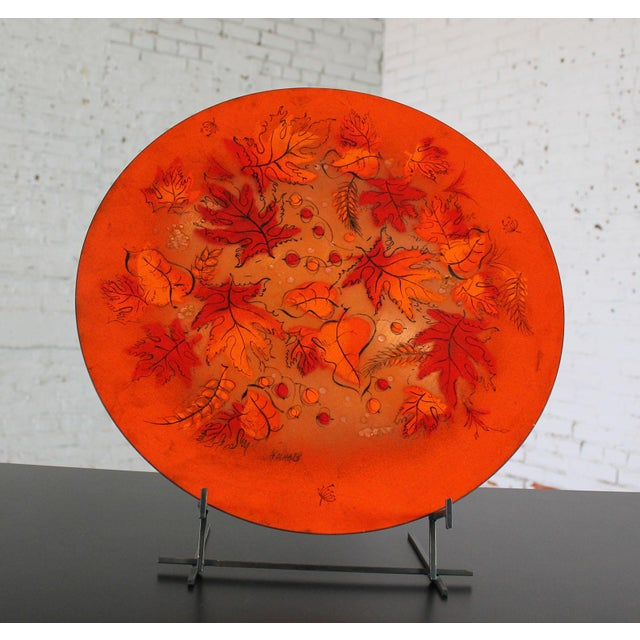 Sascha Brastoff Mid-Century Orange Leaves Enamel Charger - Image 3 of 11