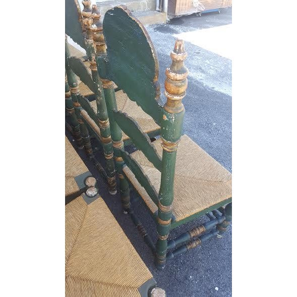Green Painted Ladder Back Dining Chairs- Set of 8 - Image 5 of 10