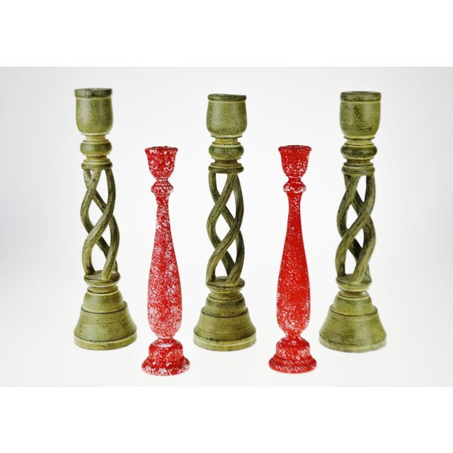 Green Vintage Turned Wood Candlestick Holders - Set of 5 For Sale - Image 8 of 8