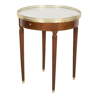 Antique French Louis XVI Style Mahogany Bouillotte Side Table With Marble Top For Sale