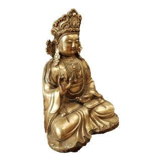 Vintage Bronze Buddha on Wood Stand