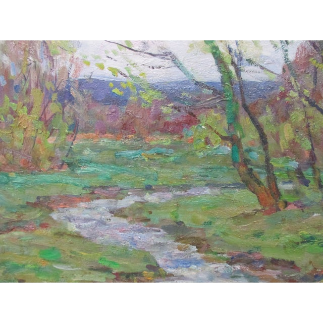 Framed impressionist style oil painting of spring landscape with forest and riverbank Signed Wood frame No glass Size:...