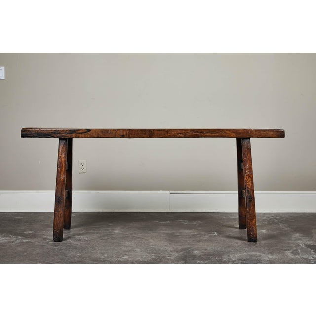 18th century Chinese figured poplar altar table with splayed elm legs from Shanshi.