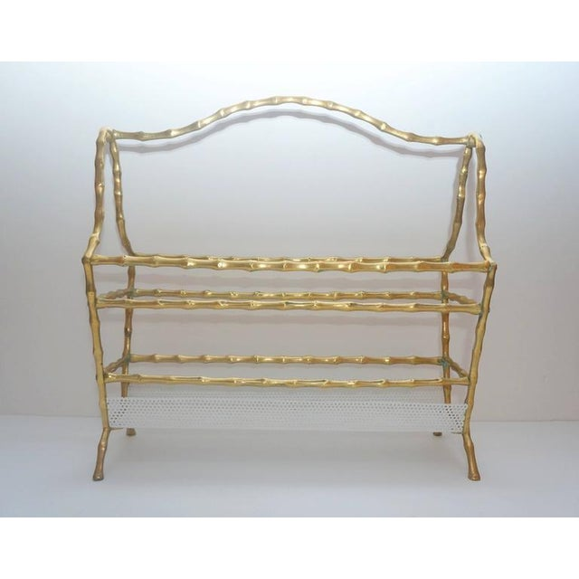 Gold Hollywood-Regency Style, Faux-Bamboo Magazine Stand, Bronze and Enameled Metal For Sale - Image 8 of 10
