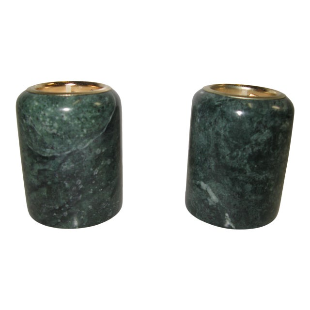 1980s Green Marble Candle Holders - a Pair For Sale