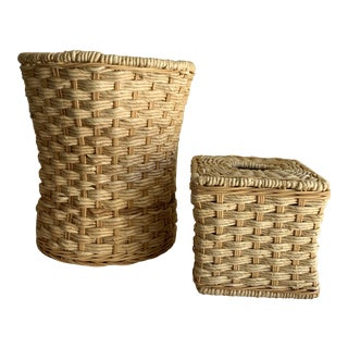 Natural Rope & Wood Tissue Box & Wastebasket For Sale