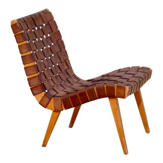 1950s Mid Century Modern 654w Jens Risom Knoll Leather Strap Lounge Chair For Sale