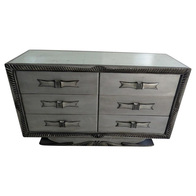 Silvered Distressed Mirrored Dresser For Sale - Image 9 of 9