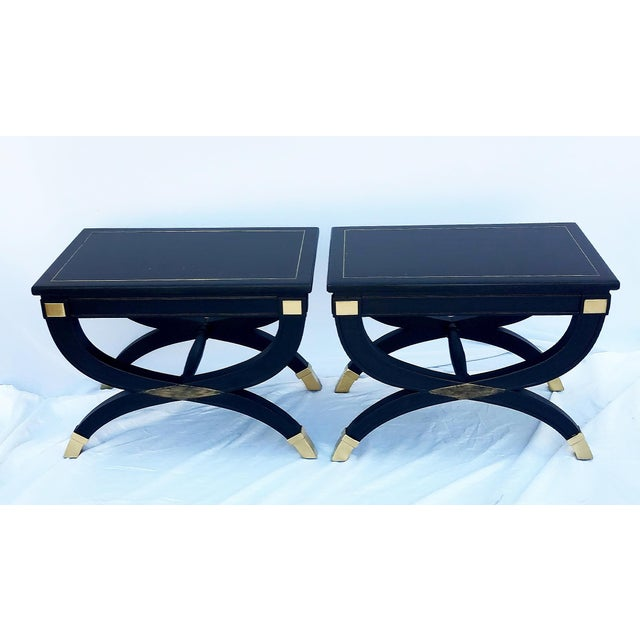 1960s 1960s Drexel Curule X-Form Inlayed Brass Gilt Benches - a Pair For Sale - Image 5 of 9