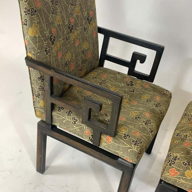 Asian Pair of Greek Key Far East for Baker Chinoiserie Armchairs by Michael Taylor For Sale - Image 3 of 13