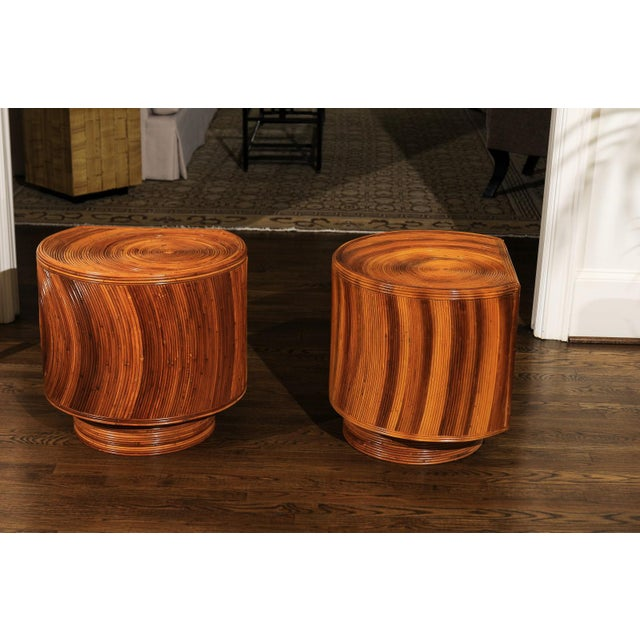 Chic Restored Pair of Swivel Bamboo and Black Lacquer End Tables, Circa 1975 For Sale - Image 10 of 13