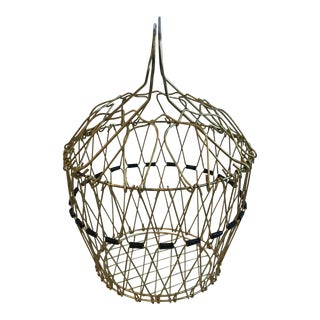 Mid Century Folding Wire Basket For Sale