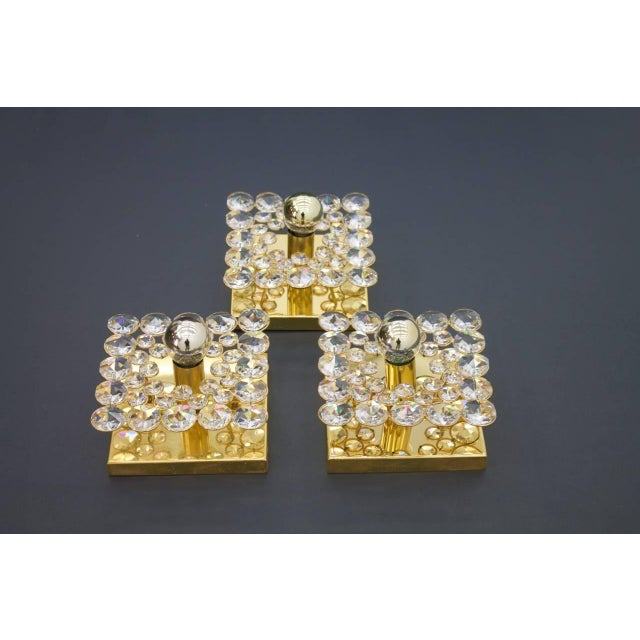Palwa Palwa Gilded Wall Sconce With Crystal Glass Germany 1960s, Three Lights Are Available For Sale - Image 4 of 8