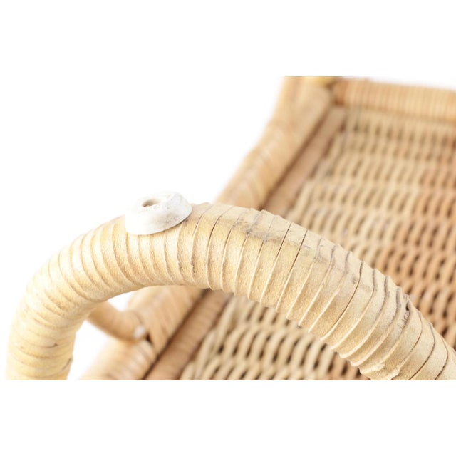 Vintage Wicker Picnic Basket Folding Chair For Sale - Image 11 of 13