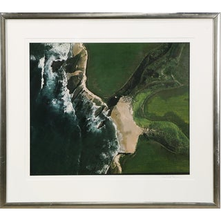 Large Framed Aerial Photograph of Northern California Coast and Farm by Woodward Payne For Sale