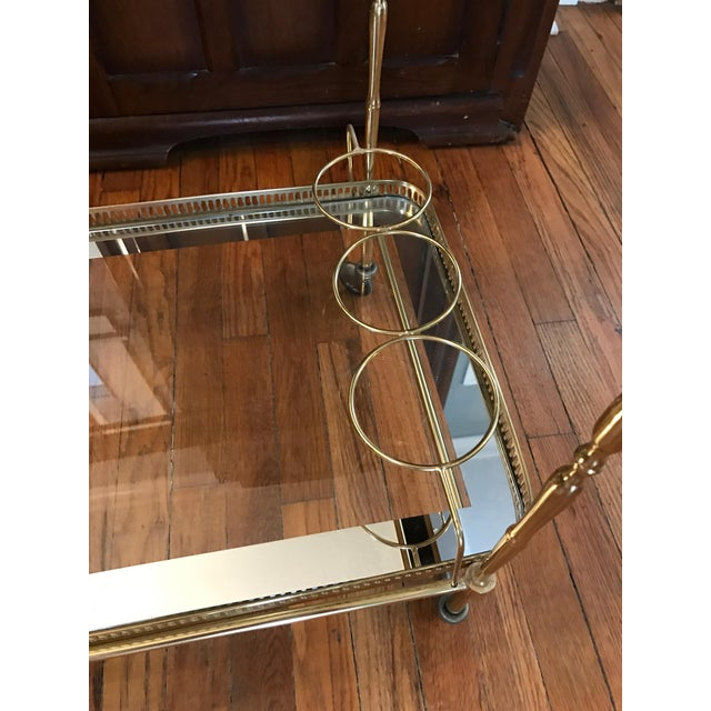 Vintage Brass & Glass Bar Cart - Image 7 of 8