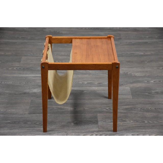 Canvas Danish Teak Magazine Rack End Table For Sale - Image 7 of 9
